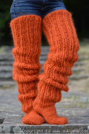 Huge mohair socks hand knitted in orange