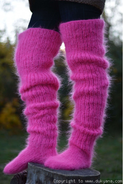 Huge mohair socks hand knitted in fuchsia