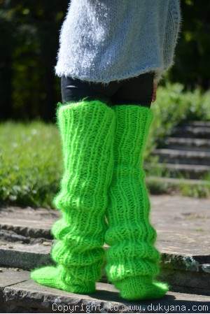 Huge mohair socks hand knitted in vibrant green