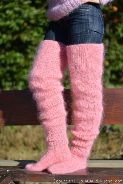 Huge mohair socks hand knitted in pink