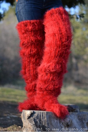 Huge mohair socks hand knitted in dark red