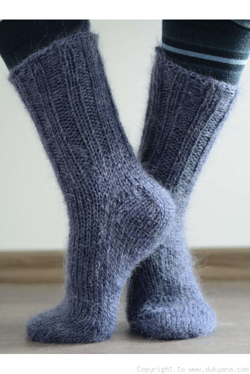 Mohair socks unisex hand knitted in dark denim