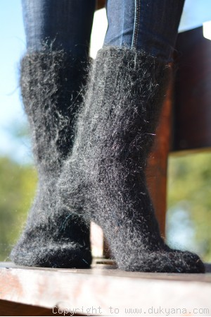 Mohair socks in black mens hand knitted