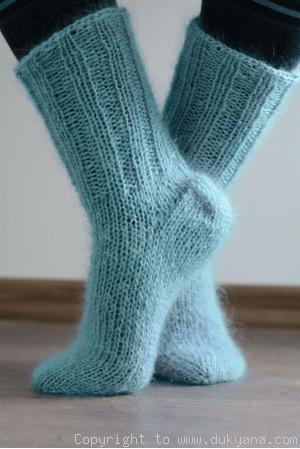 Mohair socks unisex hand knitted in aqua blue