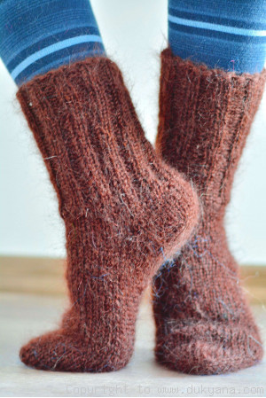 Mohair socks in brick unisex hand knitted