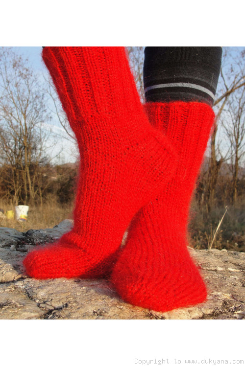 Mohair socks unisex hand knitted in bright red