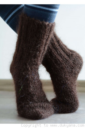 Mohair socks in chocolate brown unisex hand knitted