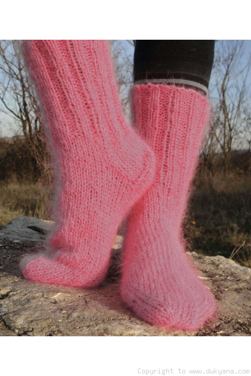 Mohair socks unisex hand knitted in candy pink