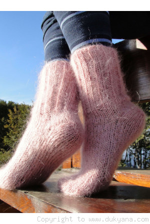 Mohair socks unisex hand knitted in faded pink