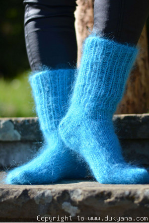 Mohair socks unisex hand knitted in turquoise blue