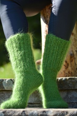 Mohair socks unisex hand knitted in grass green