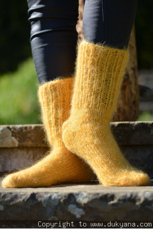 Mohair socks unisex hand knitted in ducklin yellow