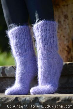 Mohair socks unisex hand knitted in lavender