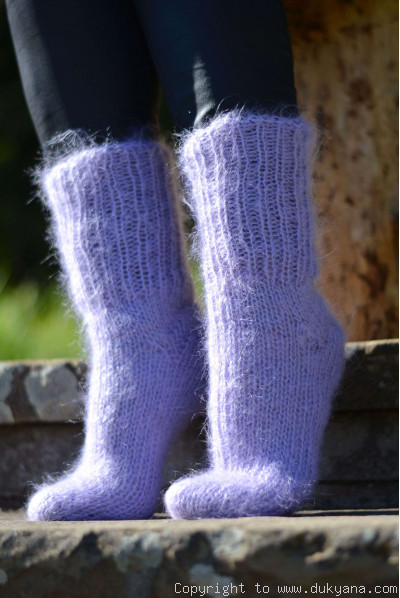 Mohair socks unisex hand knitted in lavender