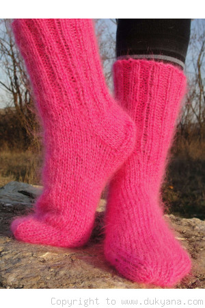 Mohair socks unisex hand knitted in neon pink