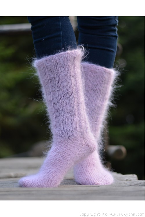Mohair socks unisex hand knitted in pale pink