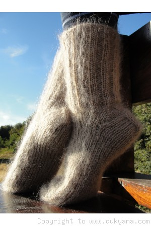 Mohair socks in tan beige unisex hand knitted