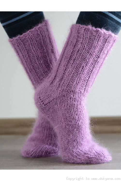 Mohair socks unisex hand knitted in violet