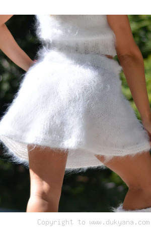 Hand knitted fuzzy mohair mini skirt in custom colour