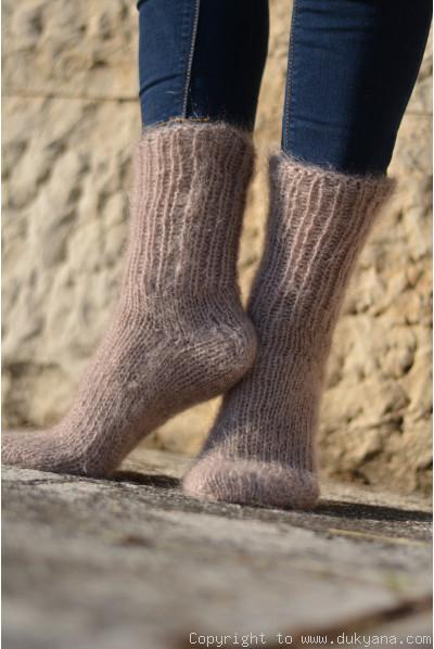 Mohair socks unisex hand knitted in beige