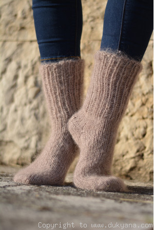 Mohair socks unisex hand knitted in beige