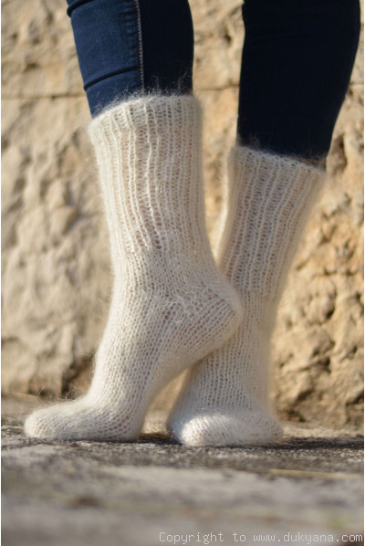 Mohair socks in Ivory unisex hand knitted