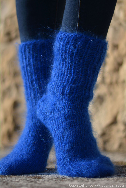 Mohair socks in royal blue unisex hand knitted