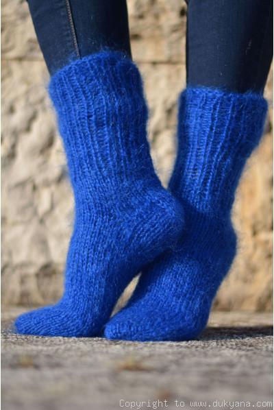 Mohair socks in royal blue unisex hand knitted