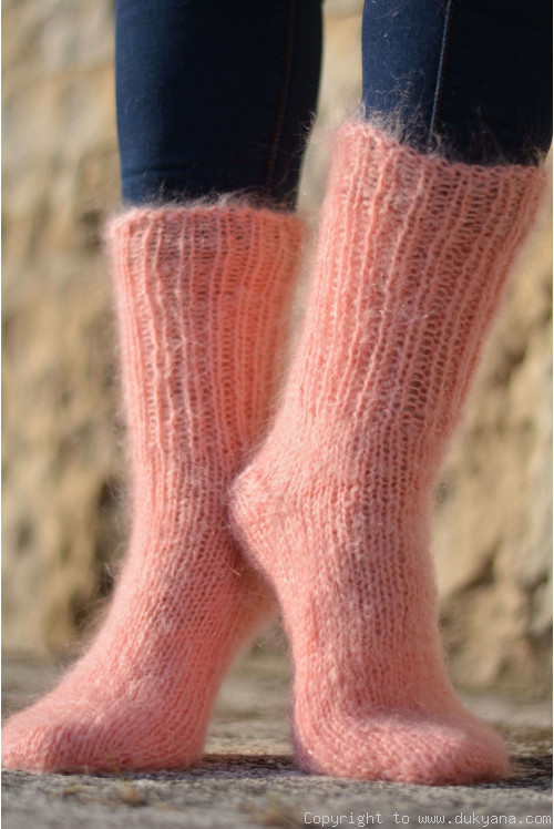 Mohair socks unisex hand knitted in peach
