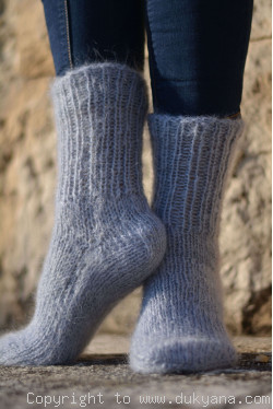 Mohair socks in gray mens hand knitted
