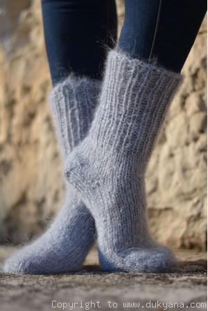 Mohair socks in gray mens hand knitted
