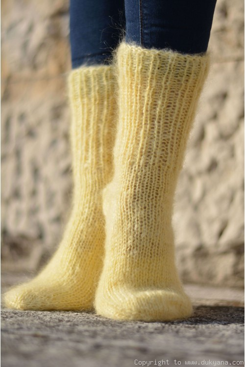Mohair socks hand knitted in pale yellow