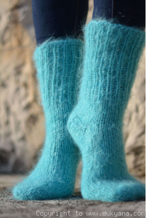 Mohair socks unisex hand knitted in mint