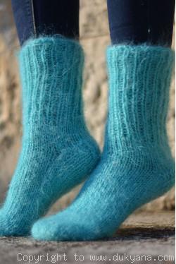 Mohair socks unisex hand knitted in mint
