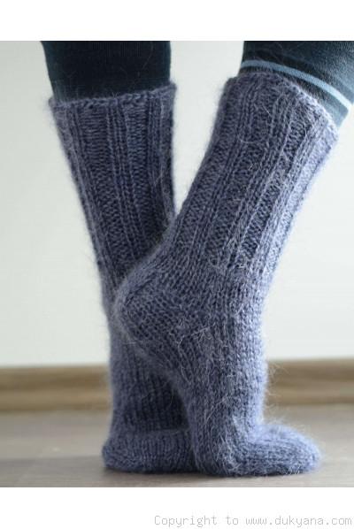 Mohair socks unisex hand knitted in dark denim