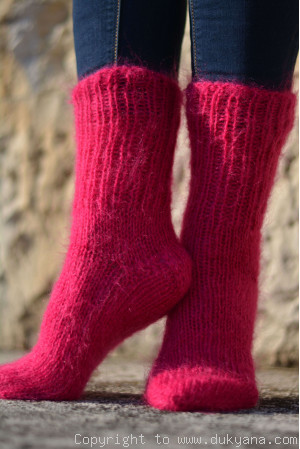 Mohair socks unisex hand knitted in dark fuchsia