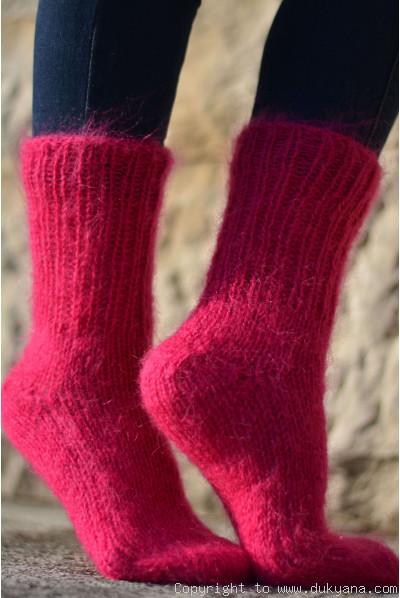 Mohair socks unisex hand knitted in dark fuchsia