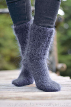 Mohair socks in steel gray unisex hand knitted