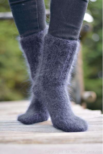 Mohair socks in steel gray unisex hand knitted