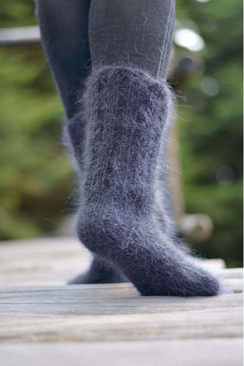 Hand knitted extra thick wool socks grey 4445 house socks