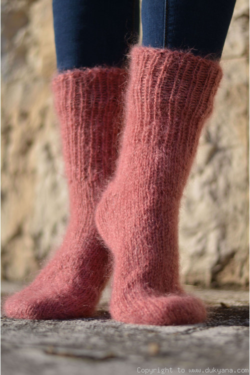 Mohair socks in dusty pink unisex hand knitted