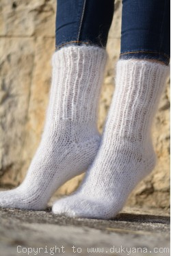 Mohair socks in white unisex hand knitted