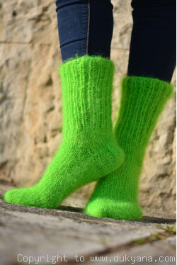 Mohair socks unisex hand knitted in neon green