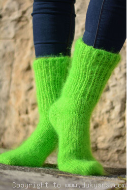Mohair socks unisex hand knitted in neon green