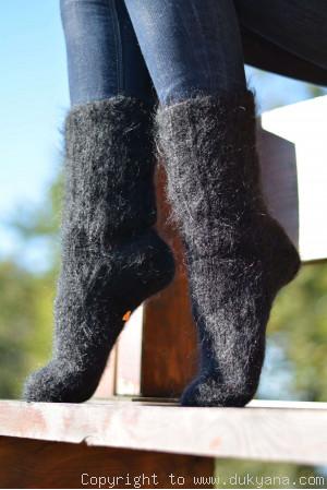 Mohair socks in black mens hand knitted