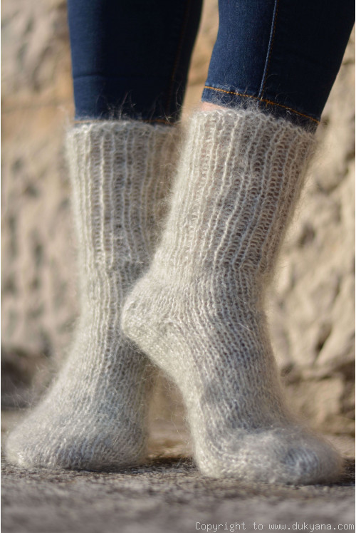 Mohair socks unisex hand knitted in heather gray