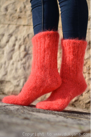 Mohair socks in neon coral unisex hand knitted