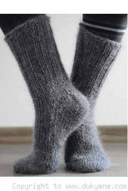 Mohair socks in slate gray unisex hand knitted