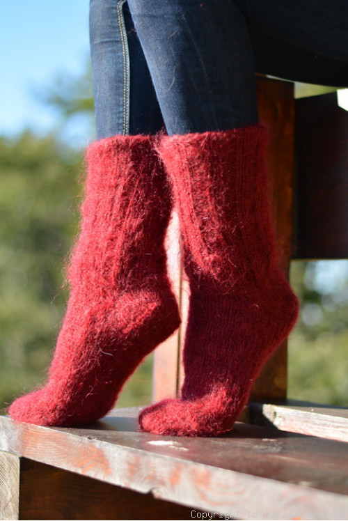 Mohair socks unisex hand knitted in burgundy red