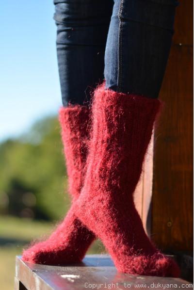 Mohair socks unisex hand knitted in burgundy red